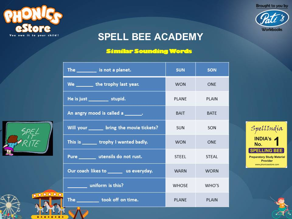 Spell Bee ... Spelling Words ... Similar Sounding Words